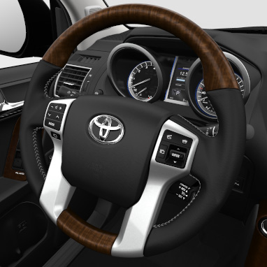 4-spoke leather and wood steering wheel